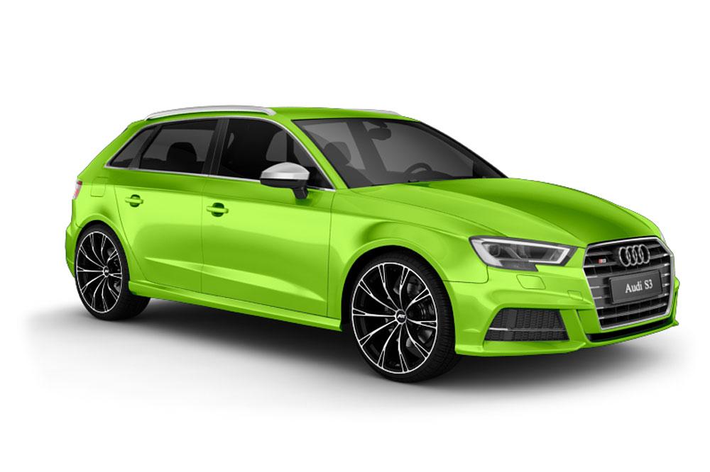 Audi S3 Tuning von ABT, Fahrzeugansicht nach dem Fahrzeugtuning mit neon-grüner Fahrzeugfolierung, Felgendesign und Chiptuning