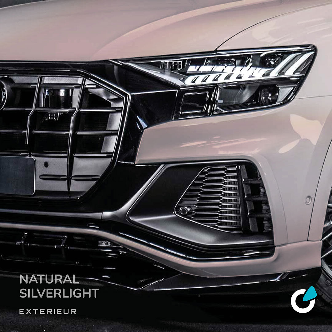 """Audi Q8 tuning concept showing the exterior of a modified car  with ABT level control. This is part of the concept line """"Natural Silverlight"""""""
