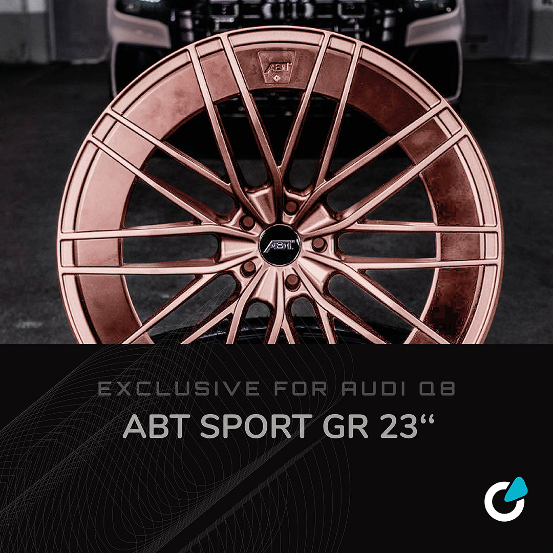 """Audi Q8 tuning concept showing possible rim and car modifications of the """"Natural Silverlight"""" line of SCEND tuning, with ABT Sport GR 23 inch rims"""