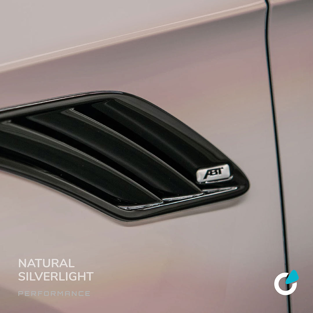 """Audi Q8 tuning concept """"Natural Silverlight"""" showing a car modification that is going to increase the cars performance. Exterior view of the air intake systems by ABT tuning"""