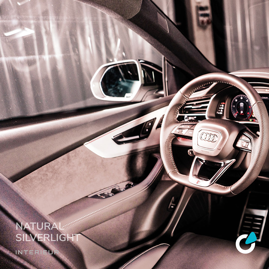 """Audi Q8 Tuning concept """"Natural Silverlight"""" by SCEND Tuning, rose gold interior view with seat and steering wheel."""