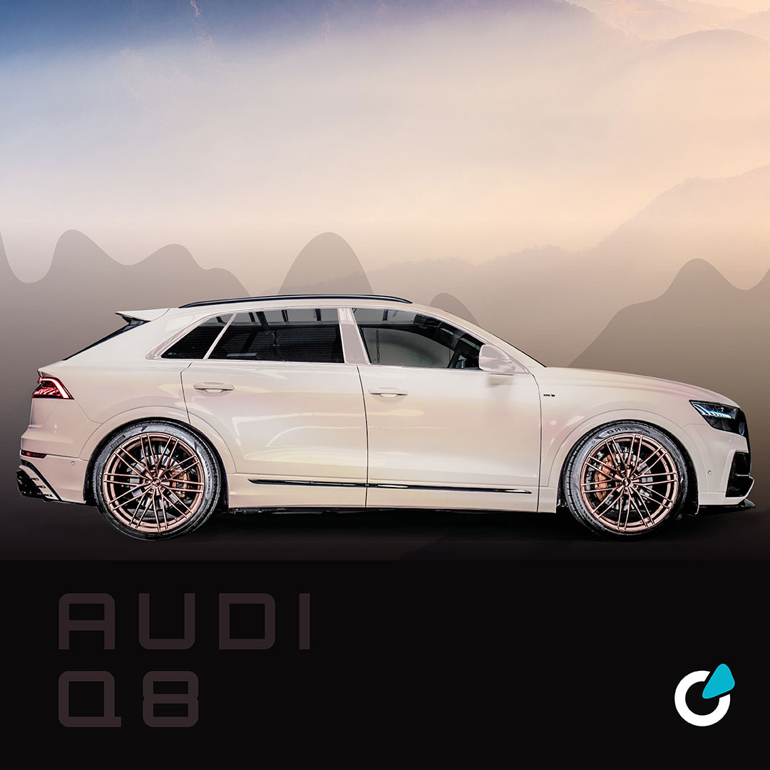 """Audi Q8 tuning concept """"Natural Silverlight"""", a car modification concept by SCEND tuning. The picture shows an exterior view of the car with ABT 23 inch rims."""