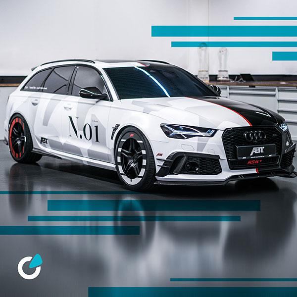 Audi RS6 Tuning Vollfolierung von SCEND Tuning mit Frontschürzen und ABT Felgen für Performance