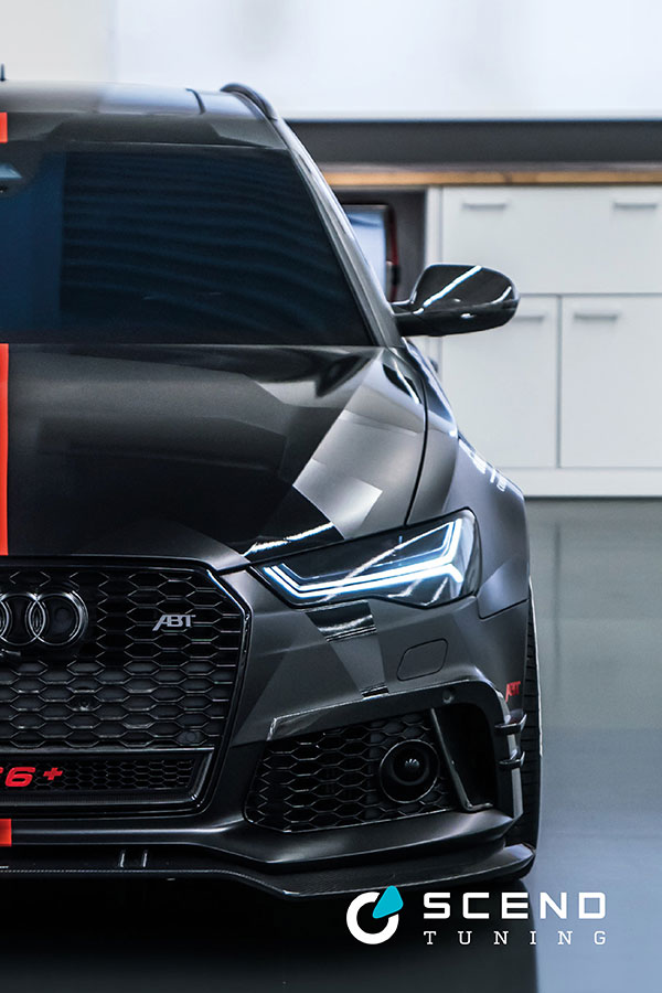 Audi RS6 Tuning Folierung von SCEND Tuning mit ABT Frontschürzenaufsatz und Level Control, Teil-und Vollfolierung in Schwarz