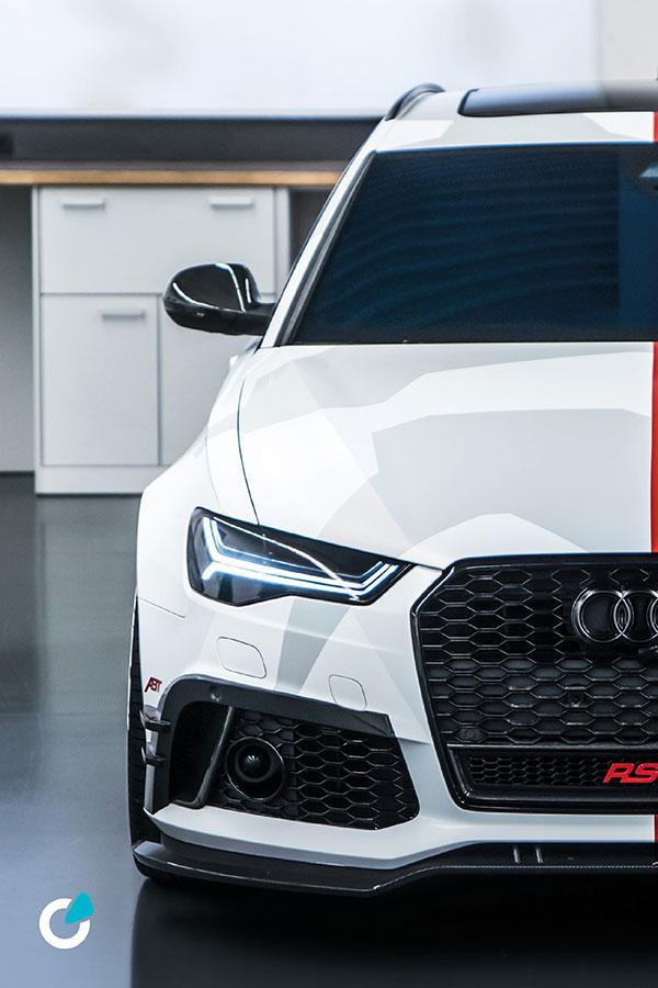 Audi RS6 Tuning Folierung von SCEND Tuning mit ABT Frontschürzenaufsatz und Level Control, Teil-und Vollfolierung in Weiß