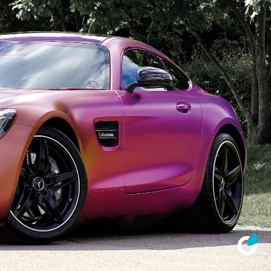 Mercedes AMG Tuning Konzept Metallic Pastell von SCEND Tuning mit professioneller Folierung und Lackierung,  Seitenansicht Komplett Lackierung Exterieur