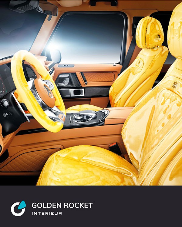 Mercedes G Klasse Tuning Konzept Golden Rocket von SCEND Tuning, Ansicht Interieur, Innenausstattung, Lenkrad Abdeckung und Sitzbezüge, Soundmodul, Chiptuning