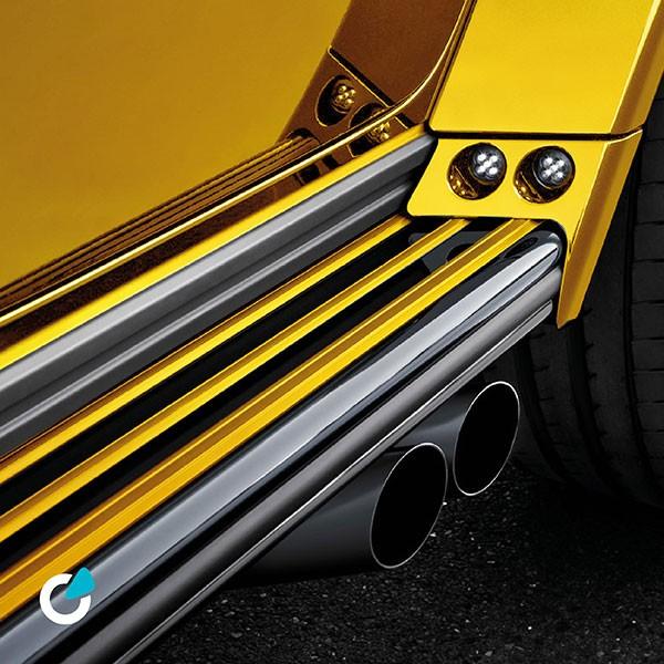Mercedes G Klasse Tuning Konzept Golden Rocket von SCEND Tuning, Ansicht Front Motorhause, Sportauspuff Anlage mit Heckschürze, vergoldet