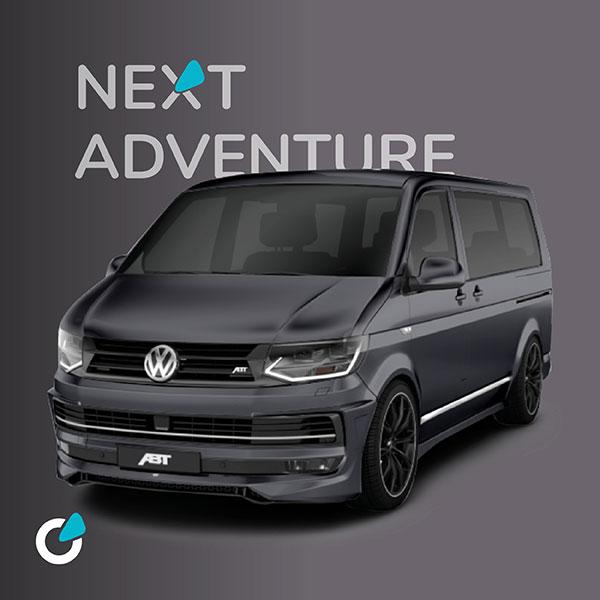 VW Volkswagen T6 Tuning Konzept von SCEND TUNING für Mutlivan und Caravan-Modelle, Komplettumbau Exterieur mit Frontschürzen, Leistungssteigerung. ABT Chiptuning, Felgen  ABT Sport GR 20