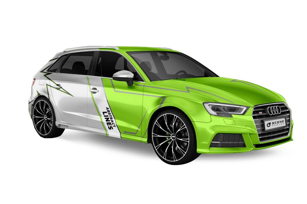Audi S3 tuning by ABT, vehicle view after vehicle tuning with neon green vehicle foiling, wheel design and chip tuning