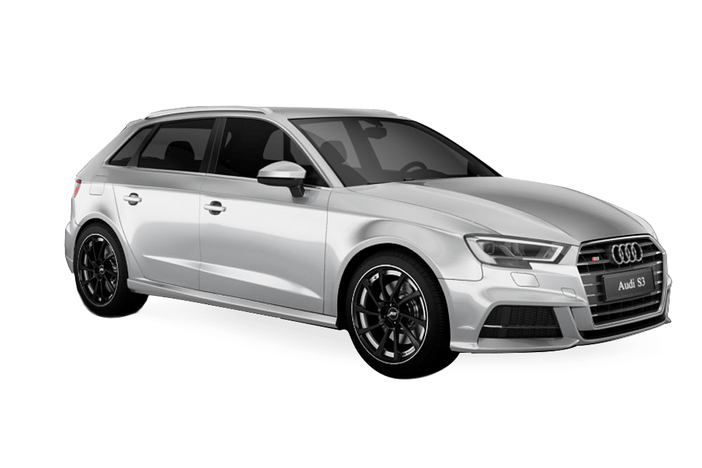 Silver Audi S3 before car tuning